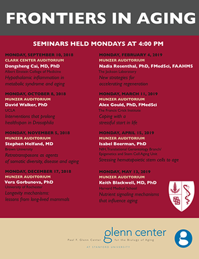 Frontiers in Aging Seminar Series 2018-2019 – Paul F  Glenn Center